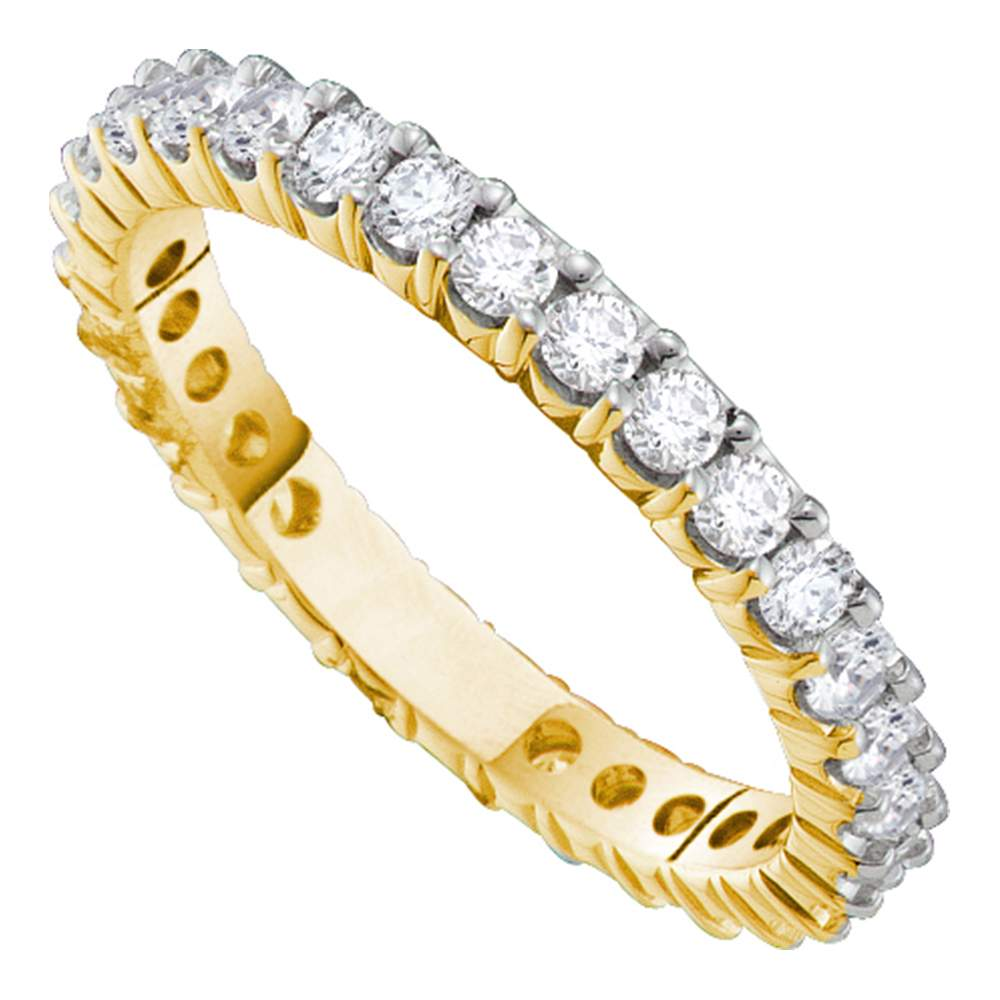 This is a picture of 388kt Yellow Gold Womens Round Pave-set Diamond Eternity Wedding Band 38.38 Cttw